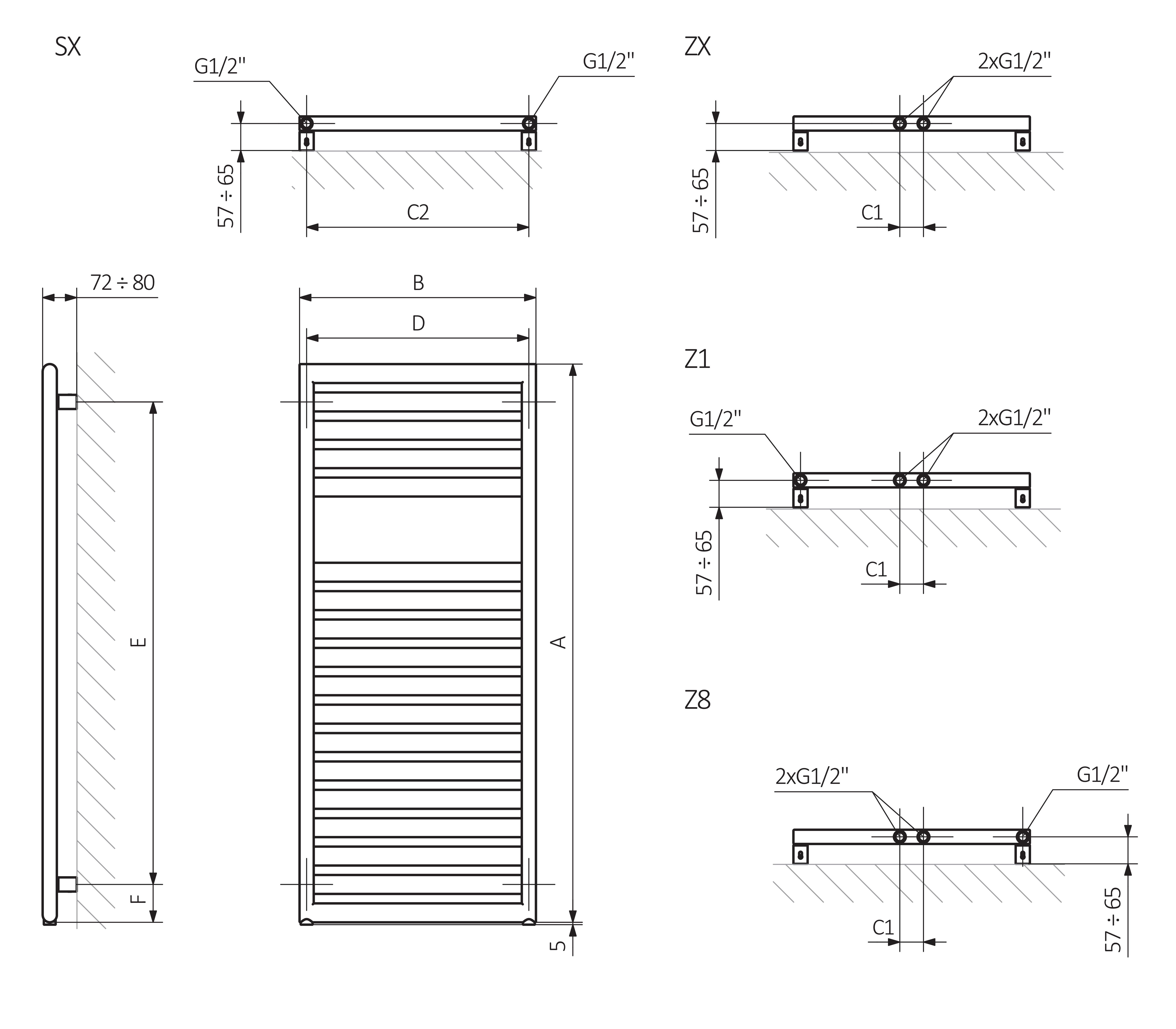 A - Höhe B - Breite C1-C5 - Abstand der Anschlüsse D - Abstand zwischen den Befestigungen in horizontalem E - Abstand zwischen den Befestigungen in vertikaler F - Abstand von der unteren Achse der Befestigungen zur unteren Kante des Kollektors